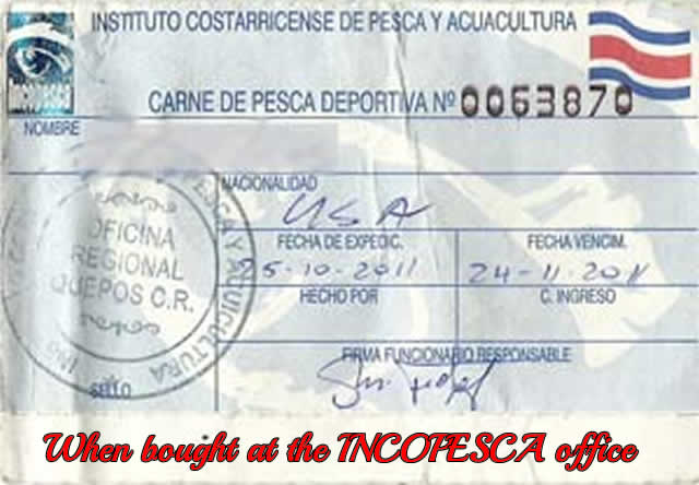 Fishing licenses costa rica fishing regulations for Where to get fishing license