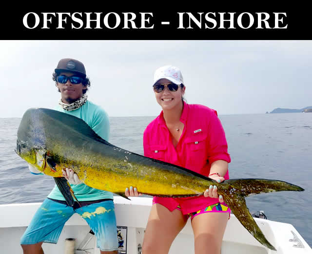 Offshore and inshore fishing charters in Papagayo