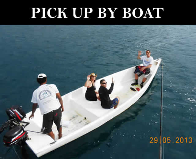 Pick up by boat in Papagayo
