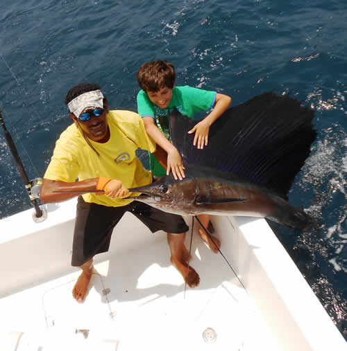 Offshore fishing out of Playa del Coco Costa Rica, the son