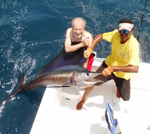 Offshore fishing out of Playa del Coco Costa Rica, the father